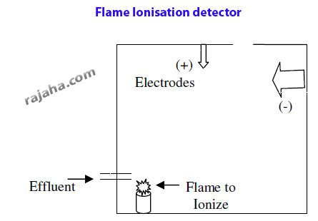 flame ionization detector with entry for effluent, flame to ionize, electrodes