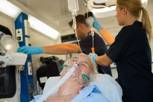 patient in hospital with respiratory support