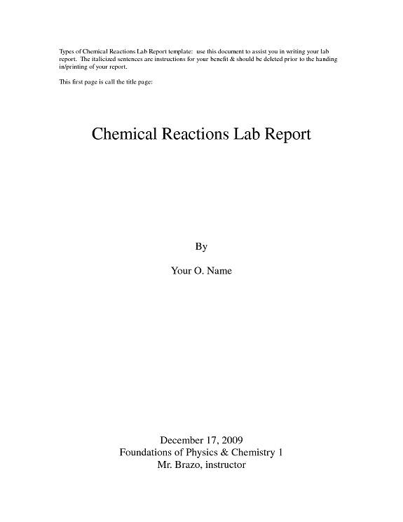 Lab Report Cover Page Sample  BesikEightyCo